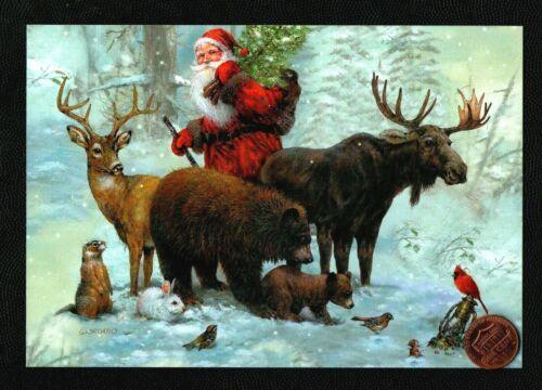 CHRISTMAS Santa Bears Moose Deer Rabbit GIORDANO - Greeting Card - W/ TRACKING
