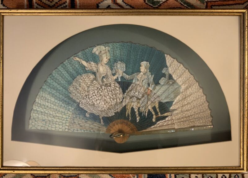 Antique FRENCH PAINTED PAPER AND WOOD LADIES FAN in Shadow Box Frame