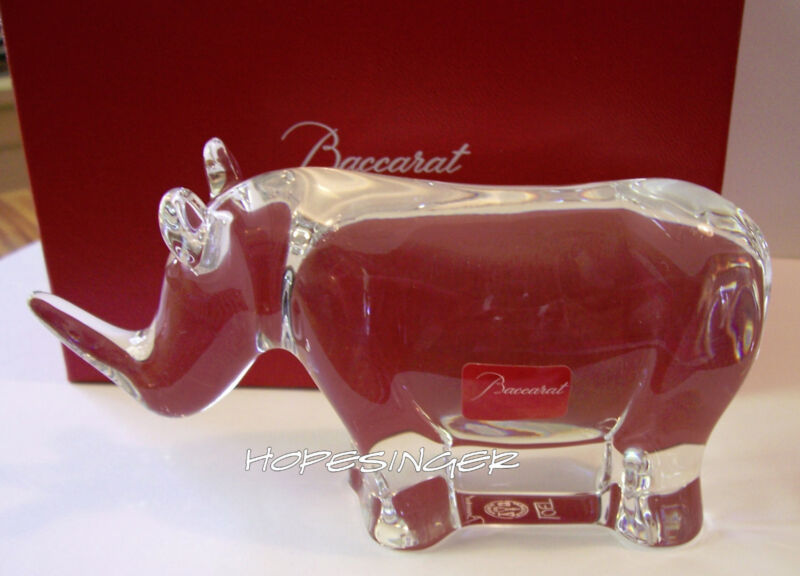 RARE! NEW IN BOX (2) BACCARAT Crystal ARTIST SIGNED NOAH'S ARK RHINO Rhinoceros