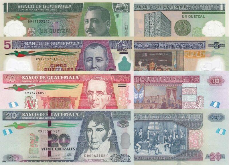 Guatemala 4 Note Set: 1 to 20 Quetzales (2011/12) - p115b/ p122b/123c/124 UNC