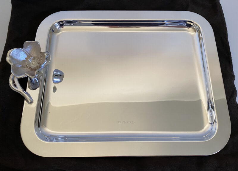 Deco Christofle Rectangular Tray Sterling Silver French Hallmarked w/Flower