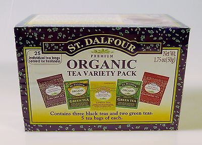 St. Dalfour Organic Tea Variety Pack (BEST BY 4/2019) Earl Grey Green 25