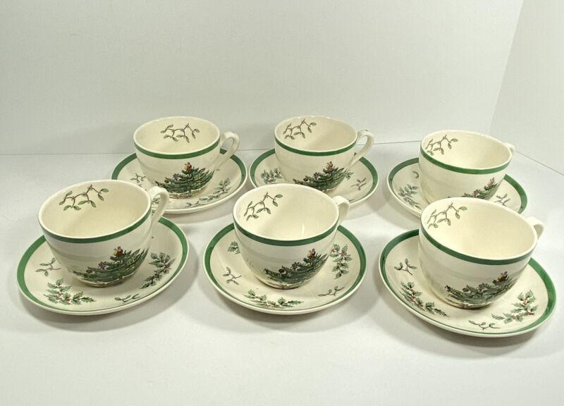 Spode Christmas Tree Santa Qty 6 Tea Coffee Cups & Saucers England Holiday Gift