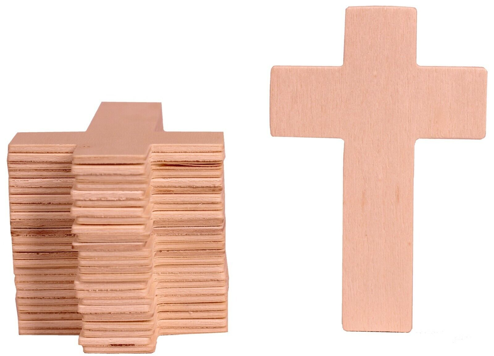 100 pack -Unfinished Wood Cross Shape Cutout Slices, 4.25 Inch, Wooden Craft DIY Crafting Pieces