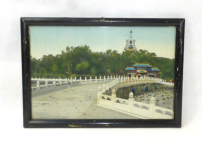 Coloured Woven Picture France XIX Jh Silk Embroidery Pagoda