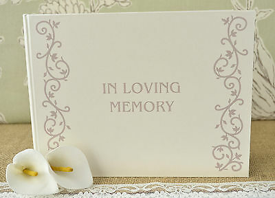 Ivory In Loving Memory Book. Condolence Book. Memorial Book. Funeral Guest Book