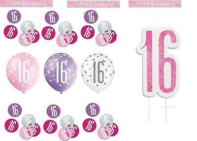 PACK, PINK / SILVER GLITZ  Balloons Banner Candle & Confetti (16th Birthday Party)