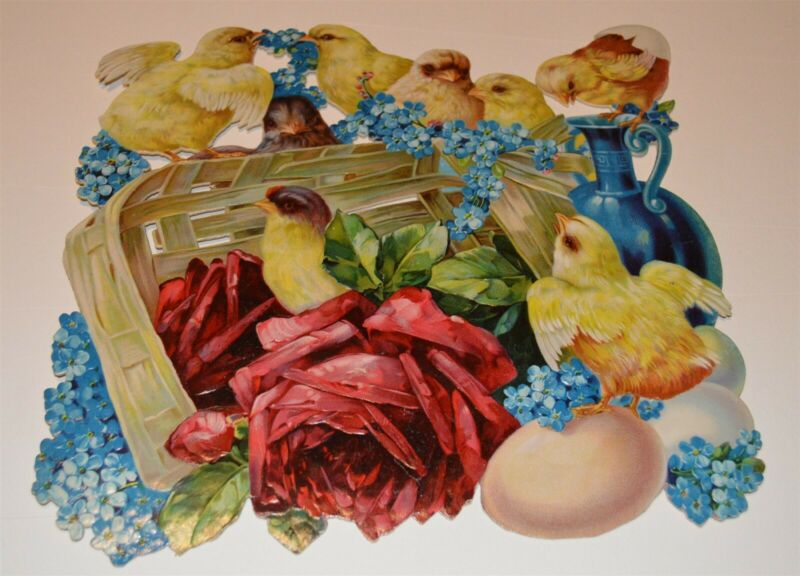 Exceptional Victorian Easter Lithographed die cut Chicks Basket Lilacs 10 x 11