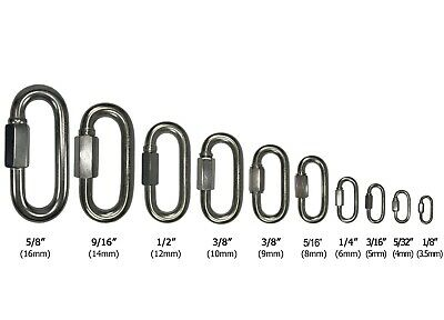 T316 Stainless Steel Quick Link Marine Grade Boating or Rigging 1/8