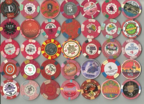 LOT OF 140 ORIGINAL $5.00 CASINO / POKER CHIPS COLLECTION MOSTLY LAS VEGAS, NV