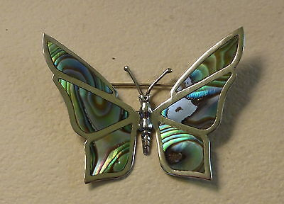 Vintage Sterling Silver 925 Butterfly Brooch Abalone Shell Pin Signed JRF Mexico