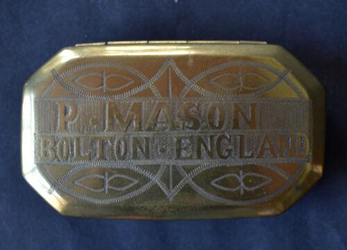 English Brass Inscribed Snuff or Tobacco Box