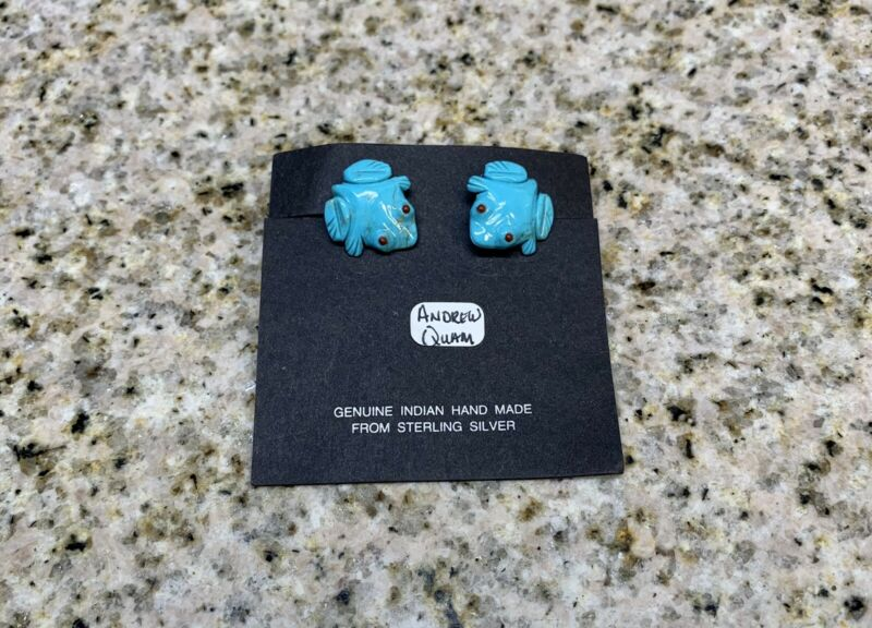 LQQK (RARE) Andrew Emerson Quam - Zuni Turquoise Frogs With Corral Eye Earrings!