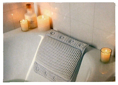 WHITE CUSHION BATH PILLOW WITH SUCTION PADS - 302603