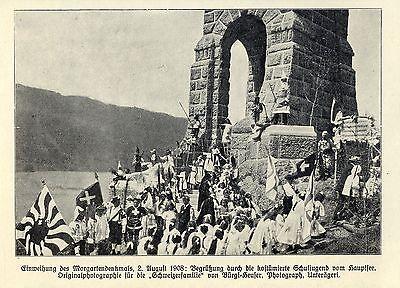 Kostümierte Schuljugend vom Hauptsee Morgartendenkmal Historische Aufnahme 1908