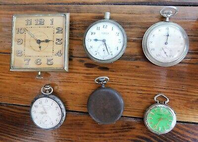 LOT OF 6 OLD POCKET & DESK WATCHES, LONGINES (SILVER CASE) , TROVATO, MOERIS ETC