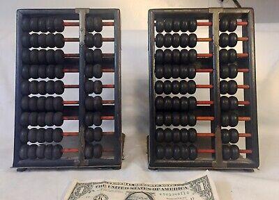 Vtg Pair AbacusBookends Hong Kong - Wood Brass Frame Calculator 9 rows 63 Beads