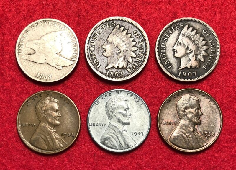 Small Cent Type Set - Flying Eagle Indian Head Penny Wheat Steel Cents Coin Lot