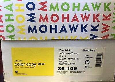 Mohawk Color Copy Gloss Paper 11x17 100lb Text CASE CONTAINS 3 REAMS=1500 Sheets