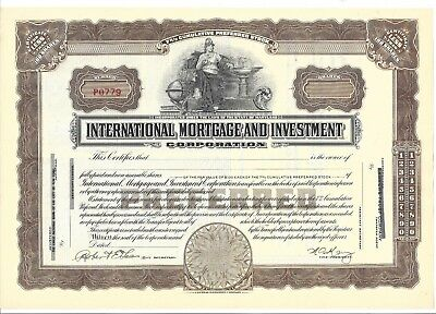 International Mortgage And Investment Corporation    Unissued  Stock Certificate