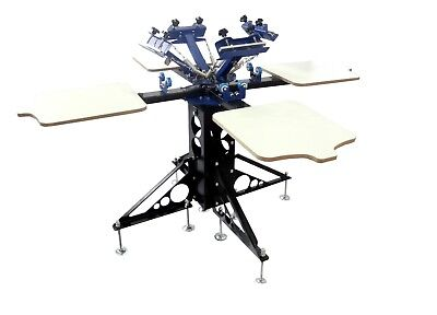 4 Color Screen Printing Press 4 Station Double Rotary T-shirt Screen Printer