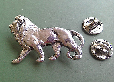 Lion Pewter Pin, hand made in Great Britain, 2 press on pin backs