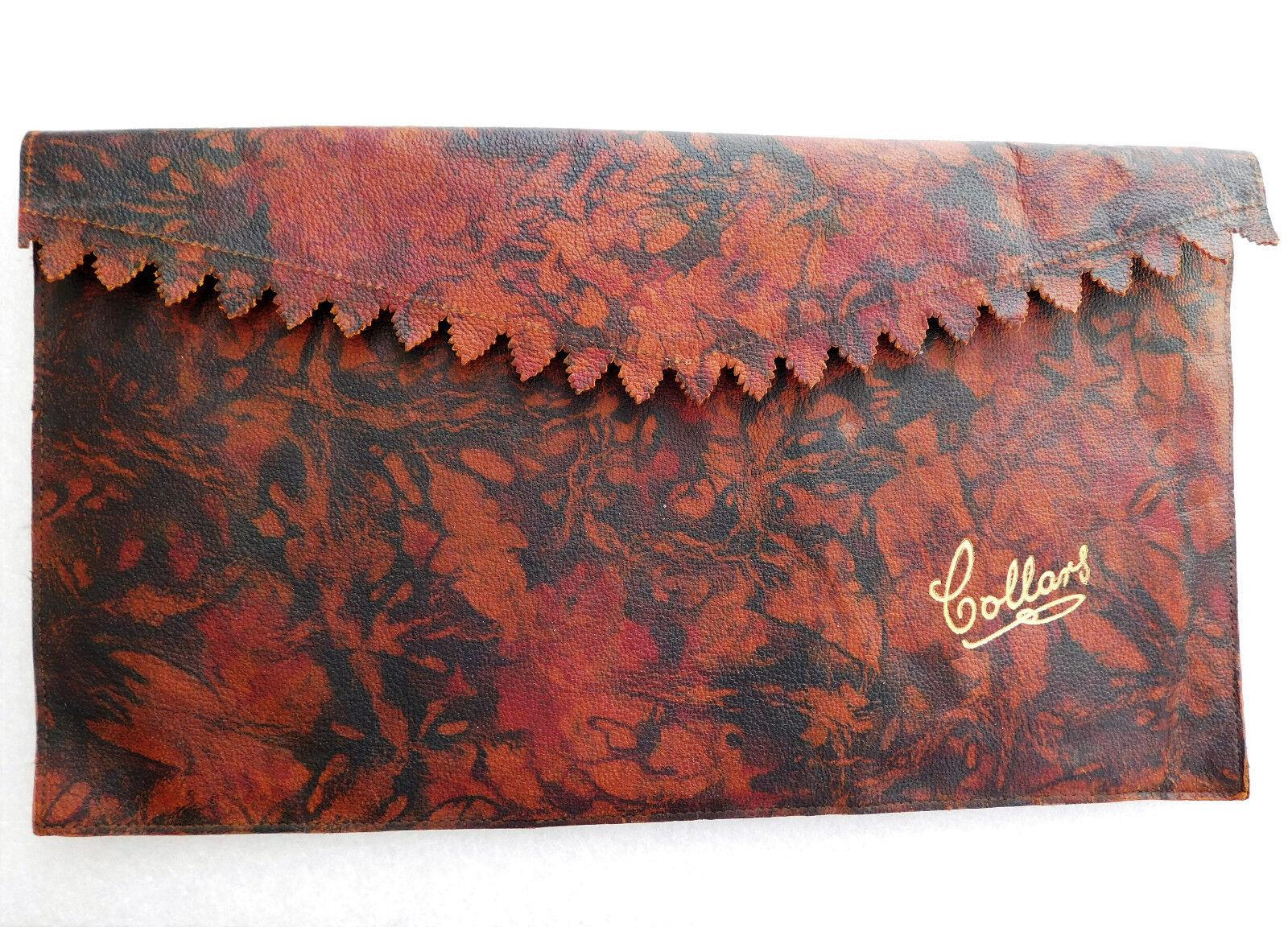 Soft collar case Art Deco 1930s wallet travel pouch Floral pattern burgundy