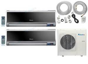 Dual multi ductless mini split 2 x 1200 btu heat pump air for 1200 btu air conditioner window