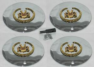 4 CAP DEAL VOGUE GOLD CHROME CADILLAC WHEEL RIM CENTER CAP SET W/ LOCKS 991-0625
