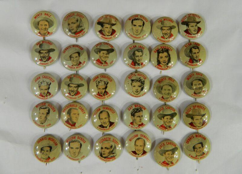 Set of 30 Quaker Movie Star Pinbacks Pin Pinback Button