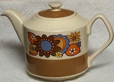 Vtg Mid Century Sadler Stoneware Pottery Floral Tea Pot Teapot England Coffee