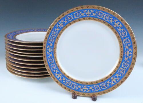 "Set 12 Antique Limoges Blue & Raised Gold Birds 11"" Dinner Plates Guerin French"
