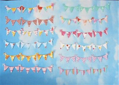Die Cut bunting x 12, floral,  Multi colour, topper, birthday, party, cards