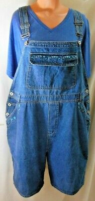 CASUAL CORNER Jean Bib Shortalls Front Pouch Royal Blue Flowers 46X8 Size 20W Embroidered Pocket Shortall