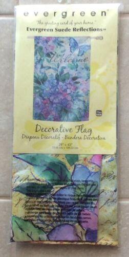 NEW Evergreen Suede Reflections Watercolor Hydrangea Welcome