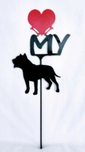 Pit bull Love (heart) Yard Sign Metal Silhouette Made in the USA