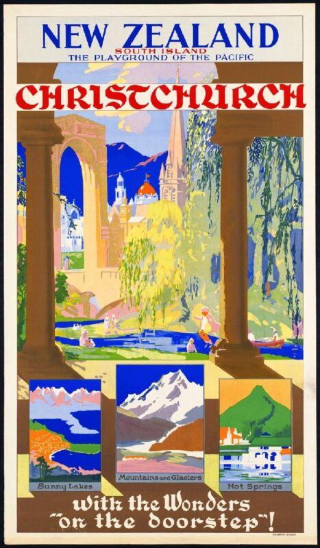 Christchurch New Zealand Vintage Travel Advertisement Art Poster