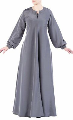 Basic Puffed Sleeves Asymmetrical Abaya Dress