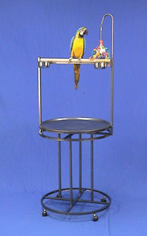Mauna Loa Lookout Bird Wrought Iron Playstand Parrot Gym Stand W/Toy Hook 4327