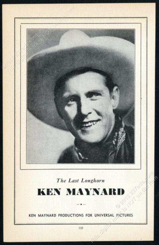 1934 Ken Maynard photo Universal Pictures vintage print ad