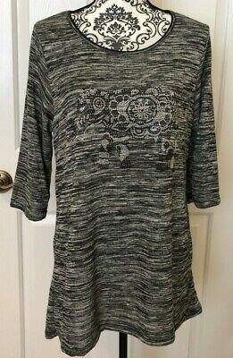 Elephant Sugar - NEW Vanilla Sugar 1X Elephant Black White Stripe 3/4 Sleeve Shirt Top Blouse NWT