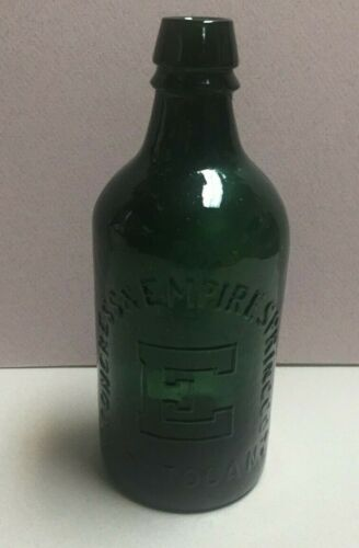 "Vintage Congress & Empire Springs ""E"" Deep Green Whittle Mold Water Bottle"