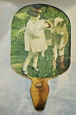 RARE VINTAGE OFSTUN CREAMERY CO KICKAPOO GOLD MEDAL BUTTER ADVERTISING PAPER FAN