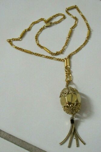 Vintage Gold Tone Chain Necklace Openwork Bead Pendant w/ Chain Tassels