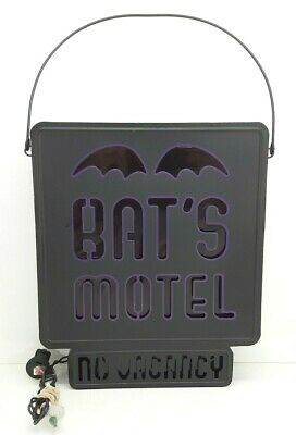 Halloween Decoration ~ Bat's Motel no Vacancy Light-Up Metal Sign