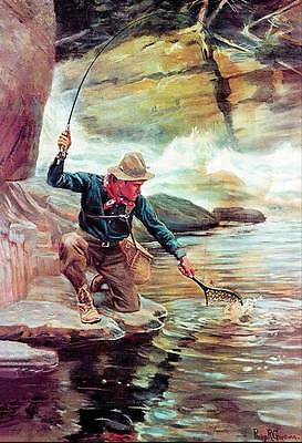 Fisherman With Pole  And Net Over Stream By Phillip Goodwin