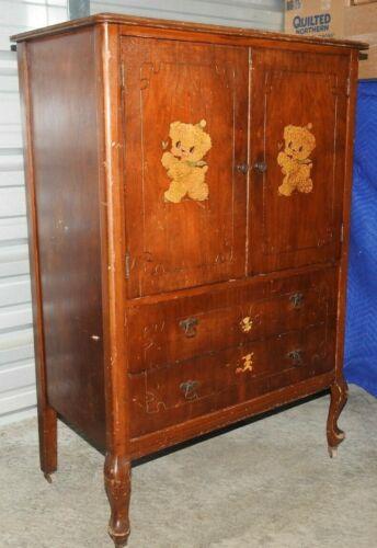 Antique Tall Boy Chest/dresser 6 Drawers, 2 Doors W/ Wheels