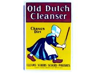 """New Ande Rooney Porcelain Magnet Old Dutch Cleanser Chases Dirt  1 1//2/"""" X 2 1//4/"""""""
