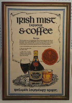 Irish Low-hanging cloud Liqueur & Coffee Framed Linen Cloth Advertising Piece, EXC COND!