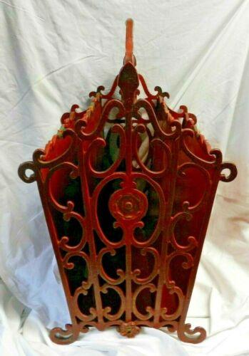 Rare Vintage Decorative Wrought Iron Handled Footed Magazine Rack-SHABBY CHIC!